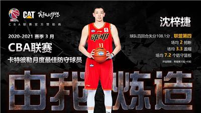 深圳马可波罗队球员沈梓捷当选CBA联赛3月月度最佳防守球员