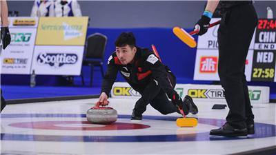 2021年男子冰壶世锦赛中国队胜韩国队 本届世锦赛中国队的第二场胜利