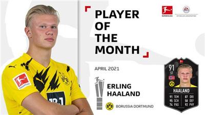 4月最佳球员评选结果公布 多特蒙德前锋哈兰德最终胜出
